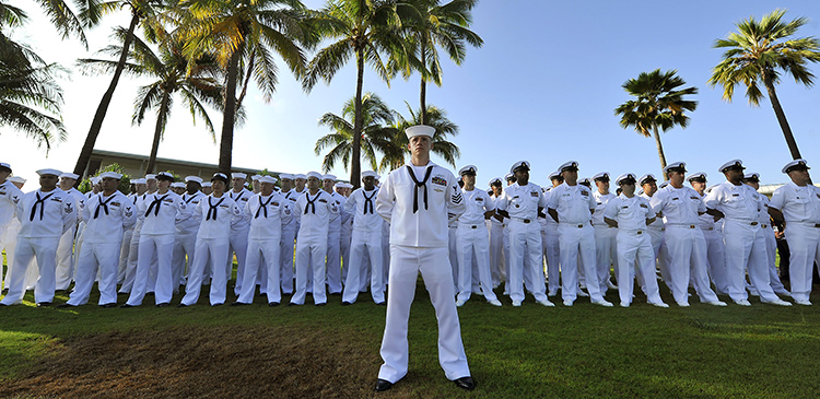 150820-N-IU636-229  PEARL HARBOR (Aug. 20, 2015) Chief petty officers and chief petty officer selectees stand at parade rest during a Pearl Harbor honors and heritage morning colors ceremony at the World War II Valor in the Pacific National Monument Visitor Center on Joint Base Pearl Harbor-Hickam. Hosted by Navy Region Hawaii in coordination with the National Park Service, the theme for the ceremony was the 70th anniversary of the end of the war in the Pacific, in honor of those who have served and are currently serving the nation. The event also recognized approximately 40 Navy chief petty officer selects in attendance. (U.S. Navy photo by Mass Communication Specialist 2nd Class Johans Chavarro/Released)
